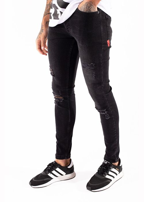 ritiro benessere vantaggio  15 Degrees Essential Super Stretch Distressed Black Jeans Skinny Fit