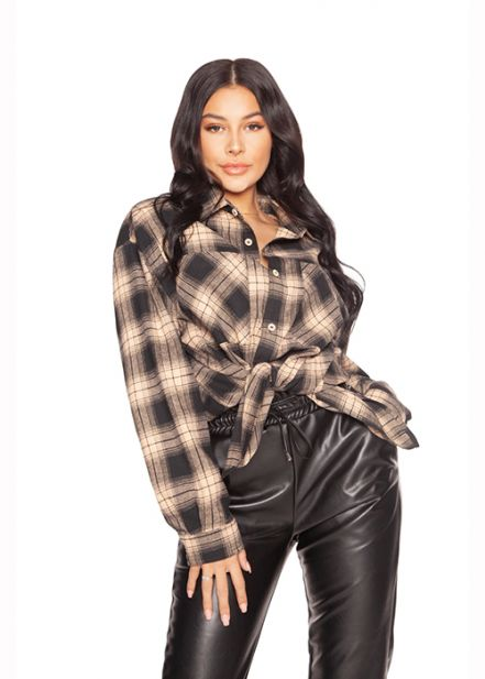 LA Sisters Oversized Checked Black/Beige Shirt